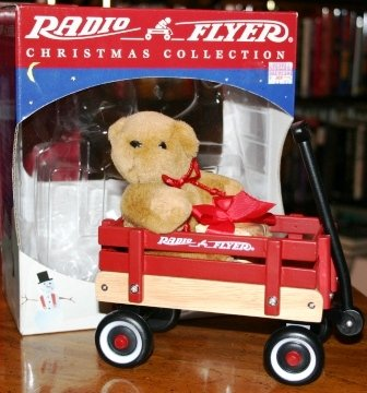 Radio Flyer Christmas Collection Bear on Wood Wagon Table...