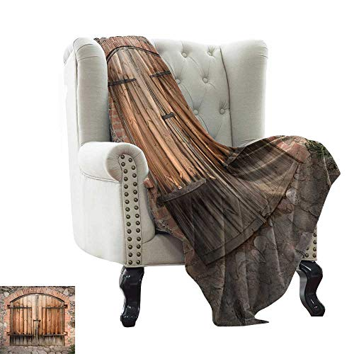 """Rustic,Throw Blankets for Couch Wooden Door of a Stone House with Wrought Iron Elements Tuscany Architecture Photo 80""""x60"""" Blanket Warm Winter Sofa Brown Grey"""