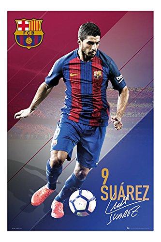 Barcelona Luis Suarez 2016 - 2017 Poster Satin Matt Laminated - 91.5 x 61cms (36 x 24 Inches)