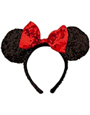 Disney Theme Parks Minnie Mouse Sequin Headband Red Black Mouse Ears