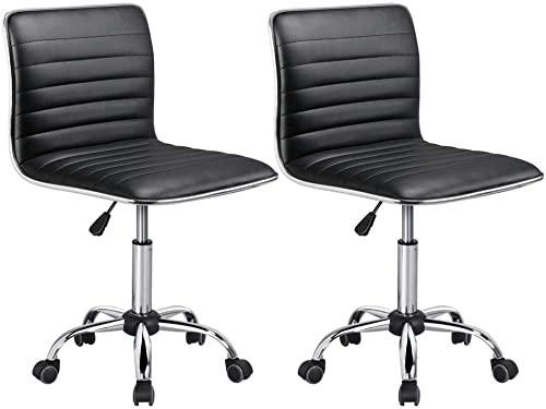 Yaheetech Adjustable Task Chair PU Leather Low Back Ribbed Armless Swivel Black Desk Chair Office Chair Wheels Set of 2, Black