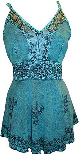 - Agan Traders 121 B Medieval Vintage Tank Top Blouse (Small, Turquoise 2)