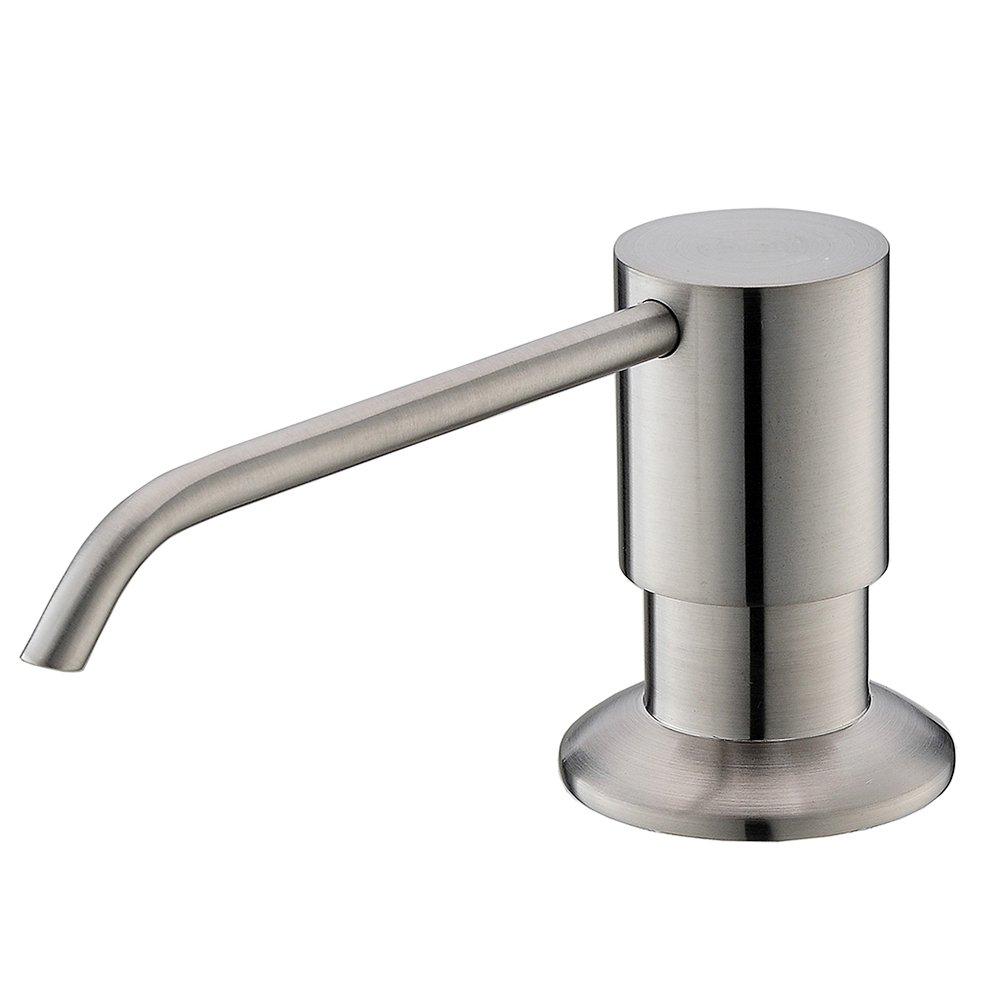 VESLA HOME Stainless Steel Built in Pump Kitchen Sink Countertop Kitchen Sink Dish Soap Dispenser, Brushed Nickel Modern Soap Dispenser by VESLA HOME (Image #1)