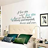Love you forever Vinyl Wall Decal Monogram Wall Quote Love Sayings Love Wall Letters Wall Words Wall Graphic Wall Art Stickers Bedroom Wall Decoration 3(love you forever:Teal;the rest words:Dark Green)