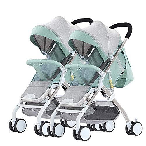 Boyang Double Stroller, Twin Tandem Baby Stroller with Adjustable Backrest, Footrest, Foldable Design for Easy Transportation