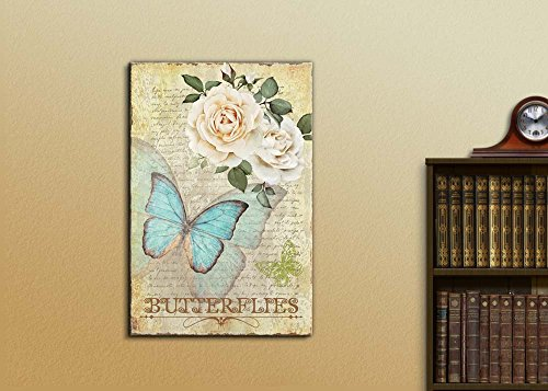Collage of an Aqua Butterfly with White Roses Over a Vintage Letter