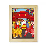 Lion Dance Chinese Custom China Town Desktop Wooden Photo Frame Picture Art Painting 6x8 inch