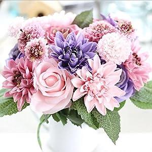 XGM GOU Artificial Flowers Bouquet 10 Head Rose Dahlia Fall Vivid Fake Flower for Wedding Home Party Christmas Decor Silk Flower 12