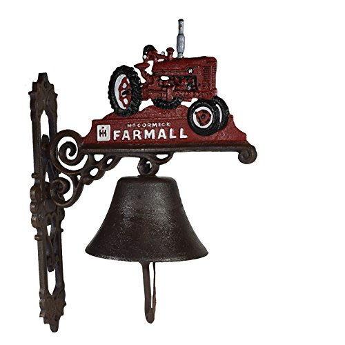 AB Tools Red Farmall Tractor Farm Bell Cast Iron Sign Plaque Door Wall Gate Post House from AB Tools