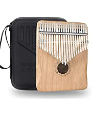 $29 » Kalimba Thumb Piano 21 keys with Crystal Sound, Mahogany Wood Portable Finger Piano w/Protective Case, Study Instruction, (Gradient Blue Reindeer)