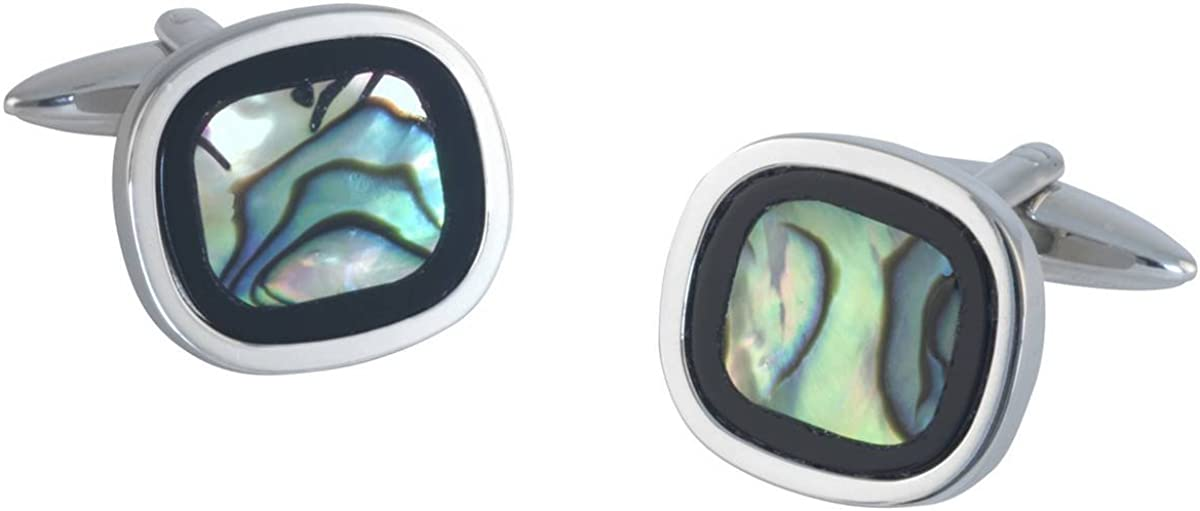 Silver//Green David Van Hagen Mens Rounded Square Onyx and Abalone Cufflinks