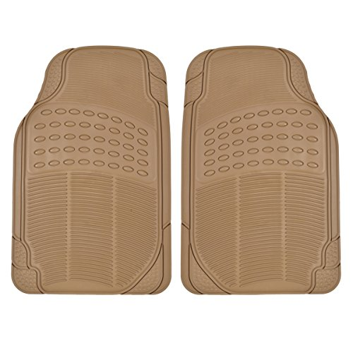 All Weather Tough Rubber Floor Mats in Beige - 2pc Front Set University Front Car Mat