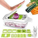Vegetable Chopper Dicer Slicer Cutter-Fruit & Vegetable Tools,Lovkitchen Slicers for Fruits and Vegetables/Onion Salad Adjustable Stainless Steel Mandoline Food Salad Chopper