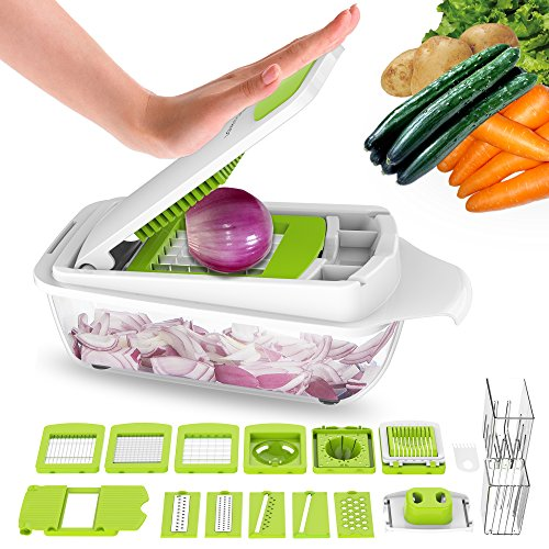 Vegetable Chopper Dicer Slicer Cutter-Fruit & Vegetable Tools,Lovkitchen Slicers for Fruits and Vegetables/Onion Salad Adjustable Stainless Steel Mandoline Food Salad Chopper (Vegetable Chopper Slicer)