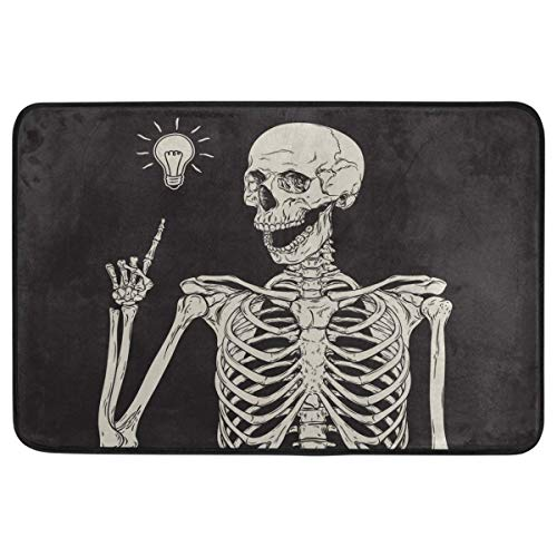 Halloween Doormat Home Decor Non Slip Washable Funny Human Skeleton Skull Has Idea Indoor Outdoor Entrance Bathroom Door Floor Mats Halloween Party Decorations Supplies 23.6 x 15.7 inch