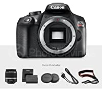 Canon EOS Rebel T6 DSLR Camera with EF-S 18-55mm f/3.5-5.6 IS II Lens, EF 75-300mm f/4-5.6 III Lens, W/ Total of 64 GB, Xpix Table top Tripod, FiberTique Cloth and Deluxe Accessory Bundle by Canon
