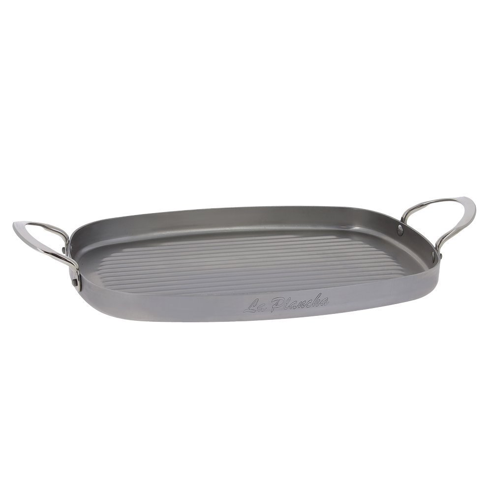 """MINERAL B Rectangular Carbon Steel Grill-pan L.15"""" x 10.25"""" with 2 Stainless Steel Handles"""