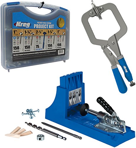 (Kreg Jig K4 Pocket Hole System with Pocket-Hole Screw in 5 Sizes and Face Clamp)