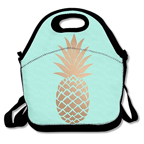 Gold Pineapple Mint Green Lunch Bag Insulated Tote Handbag Lunchbox Food Container Gourmet Tote Cooler Warm Pouch With Shoulder Strap For Women Teens Girls Kids Adults