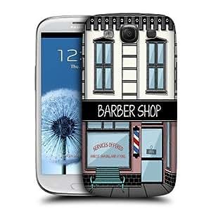 AIYAYA Samsung Case Designs Barbershop Buildings Protective Snap-on Hard Back Case Cover for Samsung Galaxy S3 III I9300