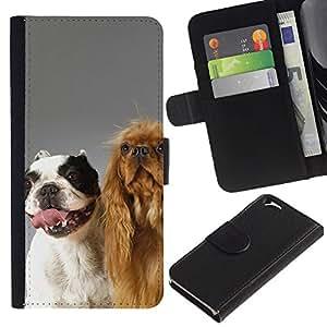 EuroCase - Apple Iphone 6 4.7 - The Happy Dog Friends - Cuero PU Delgado caso cubierta Shell Armor Funda Case Cover