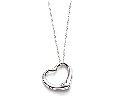 Designer inspired open heart pendant necklace sterling silver 925 18 designer inspired open heart pendant necklace sterling silver 925 18 inch chain mozeypictures Gallery