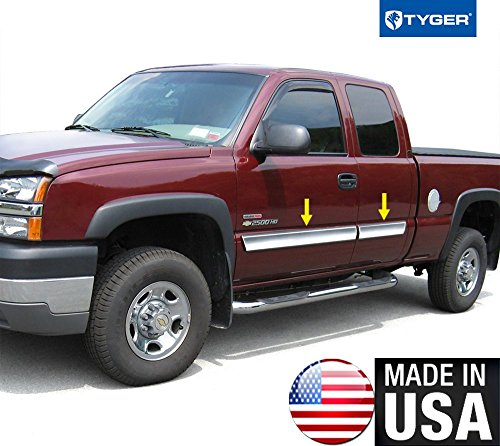 Made In USA! Works With 03-06 Chevy Silverado Extended Rocker Panel Chrome Stainless Steel Body Side Moulding Molding Trim Cover 3.5