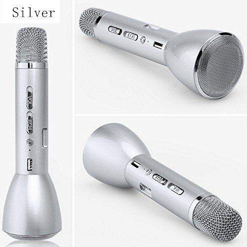 OVTECH Portable Wireless Rechargeable & 18650 Battery Powered Karaoke Handheld Microphone Bluetooth Speaker Handheld Cellphone Mic (Silver (Creative Rechargeable Battery)
