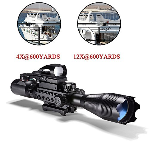 Hunting AR15 Tactical Rifle Scope Combo C4-16x50EG with Green Laser and 4...
