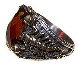Falcon Jewelry Unisex Sterling Silver Scorpion Ring, Garnet Stone Handmade, Express Shipping