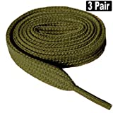 3 Pair Flat 5/16' Wide, 52' Lengths Shoe Laces Athletic Canvas Sneaker Shoe Laces Strings Shoelaces Bootlaces-Navy
