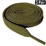 3 Pair Flat 5/16' Wide, 52' Lengths Shoe Laces Athletic Canvas Sneaker Shoe Laces Strings Shoelaces Bootlaces-Navy