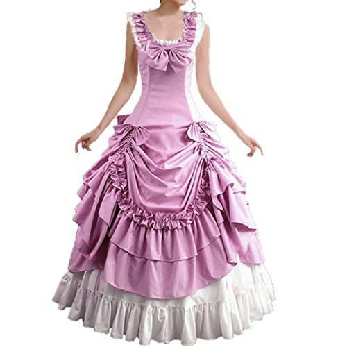[Partiss Women's Sleeveless Bowknot BallGown Gothic Dress,XS,Pink] (Pink Lady Costume Images)
