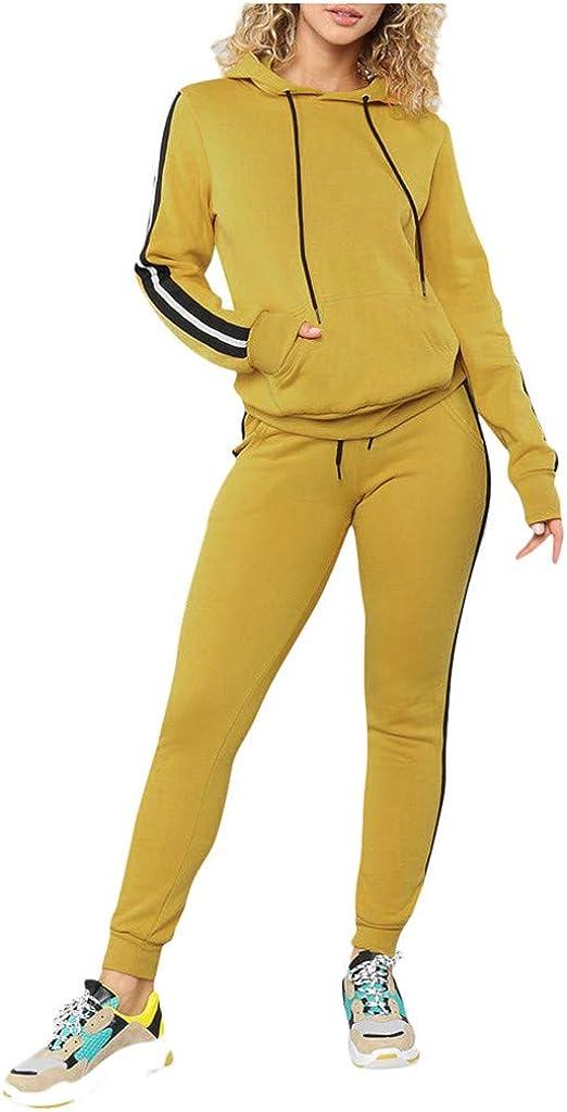 Suesshop Womens 2 Pieces Autumn Winter Solid Color Tracksuit Sports Sweatsuit Joggers Side Striped Tracksuit Jumper Set