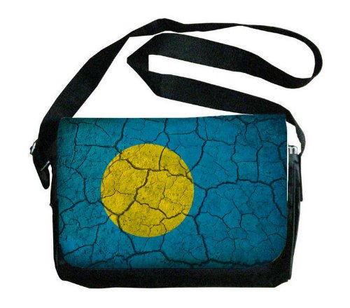 Palau Flag Crackled Design Messenger Bag