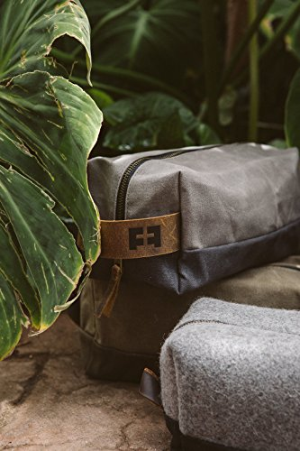 the DOPP KIT | waxed cotton canvas toiletry bag with leather handle (Cloud) by FAT FELT (Image #6)