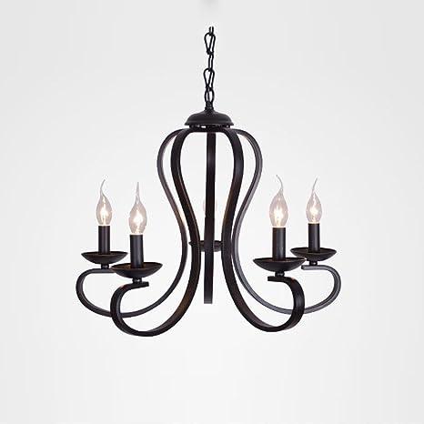 moderno elegante lámparas de araña hierro codo negro ...