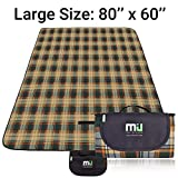 MIU COLOR Large Waterproof Outdoor Picnic Blanket, Sandproof and Waterproof Picnic Blanket Tote for Camping Hiking Grass Travelling (80'' x 60'' Yellow Plaid (Fleece Top))