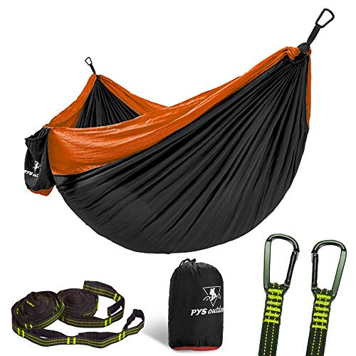 pys Camping Hammock Parachute Nylon Single Hammock with Tree Straps with Max 1000 lbs Breaking Capacity,Lightweight Carabiners Included for Backpacking or Travel (Black + Yellow)