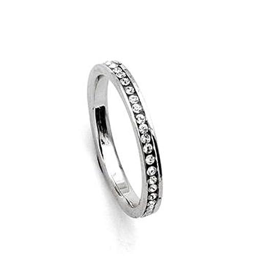 Eternidad 18k anillo de dedo oro blanco plateado salpicada de Hecho con SWAROVSKI ELEMENTS Cubic Zircon