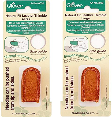 Clover Natural Fit Leather Thimble, Large (2 Pack) by Clover
