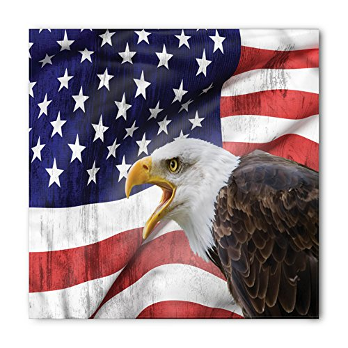 Ambesonne Unisex Bandana, American Flag Bald Eagle Icon, Red Blue