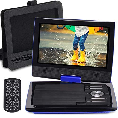 SUNPIN 11 Portable DVD Player for Car and Kids with 9.5 inch HD Swivel Screen, 5 Hour Rechargeable Battery, Dual Earphone Jack, Supports SD Card/USB/CD/DVD, with Extra Headrest Mount Case (Blue)