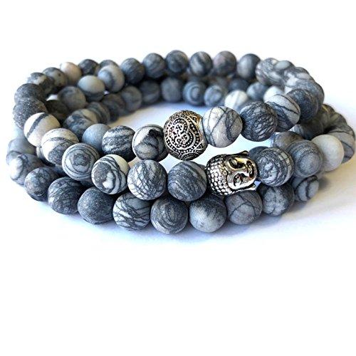 (Agar Creations - Men Women 108 Bead Picasso Jasper 8mm Mala - Buddha Prayer Beads - Yoga Meditation Mala Bracelet Necklace - Healing Stone)