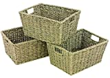 WoodLuv Seagrass Storage Shelf Basket with Insert Handles, Set of 3