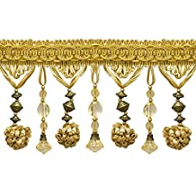 """Stunning Two Tone Gold 4"""" Accented Beaded Tassel Fringe (Sold by The Yard)"""