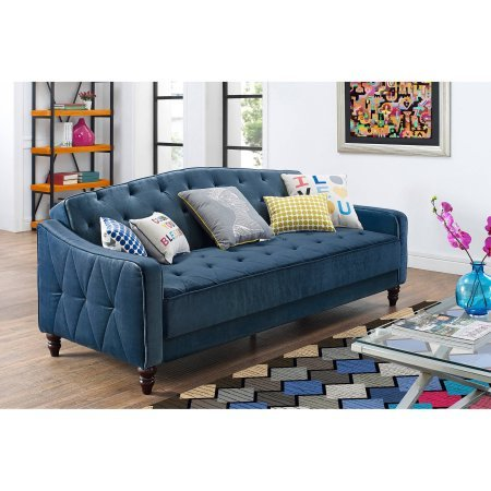 - Novogratz Vintage Tufted Sofa Sleeper II (Navy Velour)
