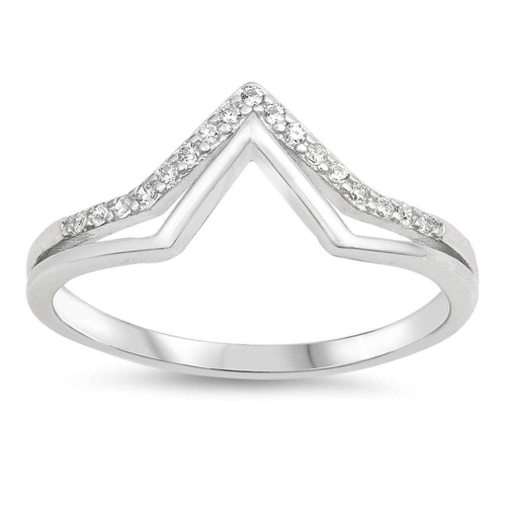 Sterling Silver Trendy Cubic Zirconia Chevron Ring Sizes 6