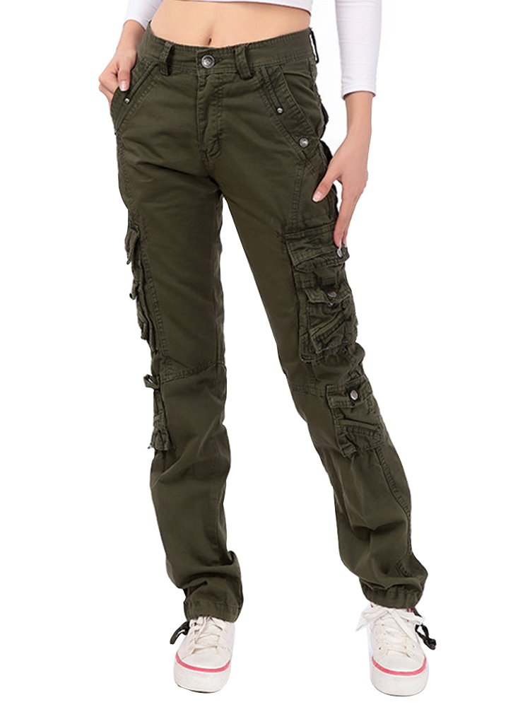 Women's Cotton Casual Straight Leg Cargo Pants with Multiple Pockets Army Green Tag 36-US 12