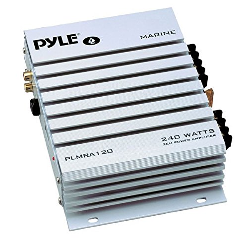 Pyle Hydra Marine Amplifier - Upgraded Elite Series 240 Watt 4 Channel Audio Amplifier - Waterproof, 4-8 Ohm Impendance, GAIN Level Controls, RCA Stereo Input & LED Indicator (2w Accent Led)
